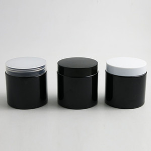 24 x 200g Empty Black Cosmetic Cream Containers Cream Jars 200cc 200ml for Cosmetics Packaging Plastic Bottles with Plastic Cap