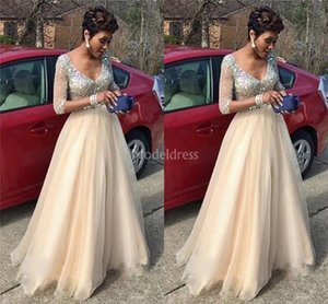 Wholesale Charming Prom Dresses 2019 V-Neck Illusion Half Sleeves Sweep Train Crystals Sexy Special Occasion Dresses Elegant Formal Party Evening Gown