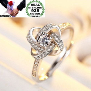Wholesale OMHXZJ Wholesale European Fashion Woman Man Party Wedding Gift Silver White Star Zircon Open 925 Sterling Silver Ring RR280