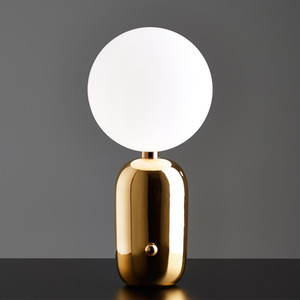 Post-modern Moon Led Night Light Bedroom Bedside Parlor Table Lamp Gold Black White Glass Ball Table Decoration Free Shipping