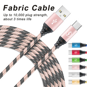 Wholesale types braids resale online - Micro USB Charging Charger Cable FT Long Premium Nylon Braided USB TYPE C Cable Sync data Charger Cord for Android Cellphone