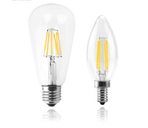 Wholesale vintage light bulbs resale online - LED Candle Bulb E14 Vintage C35 Filament Light Bulb E27 LED Edison Globe Lamp V A60 Glass W