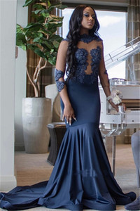 Black Girls Prom Dresses 2019 Navy Blue Mermaid High-Neck Long Sleeve Formal Evening Gowns Sheer Lace Cocktail Party Ball Sweet 16 Dress on Sale