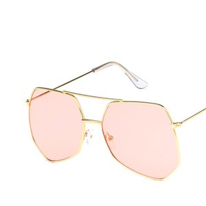 Wholesale Large Frame Shade Sunglasses For Women Fashion Design Polygon Double Beam Metal Frame Pink Mirror Glasses Female Oculos UV400