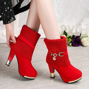 Wholesale New ultra high heel thick with metal decorative polyurethane artificial plush suede sleeve round head boots support mixed batch