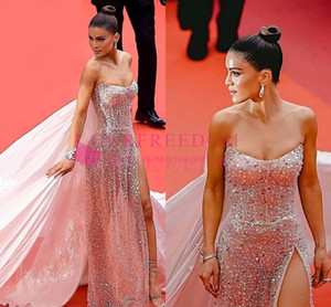 Cannes Film Festival 2019 With Wrap Celebrity Dresses Strapless Sequins Sexy Side Split Formal Occasion Evening Occasion Dresses Custom Made on Sale