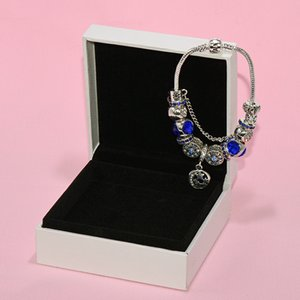 925 Silver PLATED Star moon Charms Bracelet Original Box set for Pandora Blue Beads Charm DIY Bracelets for Women Girls Gift