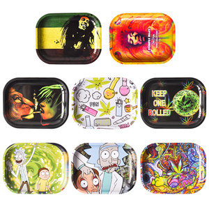 Wholesale New Cartoon Rolling Tobacco Tray quot quot Metal Tray Tobacco Stroage smoke accessory smoke pipe for