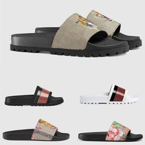Wholesale ACE Designer Slides Shoes Top Quality Men Women Designer Slippers Floral brocade Gear bottoms Rubber Sandals With Bee Flowers Snake