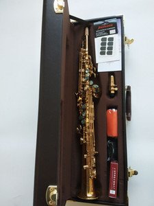 professional New Soprano Saxophone B flat Electrophoresis Gold S-901Top Musical Instruments Sax SopranoYanagisawa S-901With case