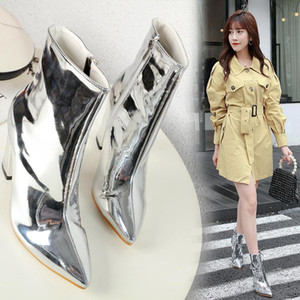 Wholesale Christmas Party Sparkly Silver Pointed Block Heels Ankle Boots Luxury Women Designer Shoes Size To