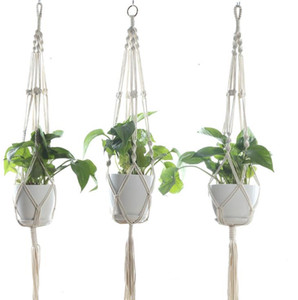 Wholesale Macrame Plant Hangers Outdoor Indoor Wall Hanging Planter Net Basket Flower Pot Holder Vintage Novelty Home Decor Gift cm