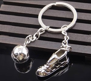 Wholesale Metal Keychain New Key chain Fashion Hot High Quality Soccer Shoes and Football Metal Car Key Ring Gift Bag Keychain