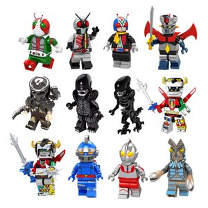 Wholesale c Alien Predator Japanese animation Ironman Beast king golion Kamen Riderman v3 building blocks mini action figures kids toys boys