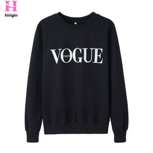 Wholesale HIRIGIN New Autumn Fashion VOGUE Print Letter T shirt Women Long Sleeve Tops Casual Cotton T Shirt O Neck Femme Clothing