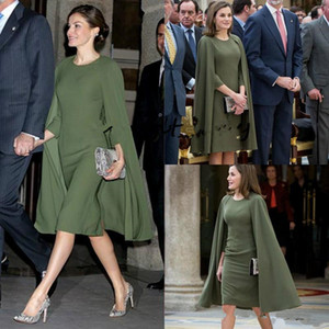 Queen Letizia Short Prom Formal Dresses With Cape 2019 Olive Army Green vestido de madrinha farsali Meghan Markle Short Evening Gown on Sale