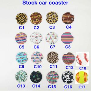 49a8ba92385813 18style baseball softball design Neoprene Car Coasters Car Cup Holder  Coasters for Car Cup Mugs Mat Contrast Home Decor Accessories