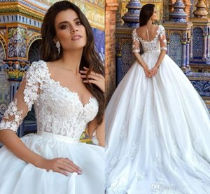 Wholesale 2019 Vintage Princess White 3D Appliqued Empire Wedding Dresses Sheer Neck 1 2 Long Sleeve Arabic Bridal Dress Custom Made Wedding Gowns