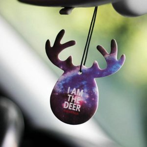 New Car Styling Hpanging Perfume Air Freshener Cute Antlers Fragrance Papers Rear View Mirror Ornament Car Interior Decoration GGA165 200pcs