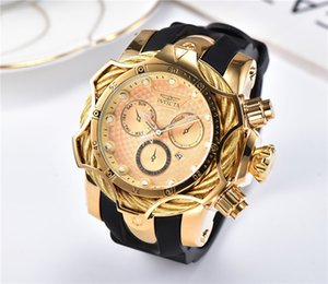 Wholesale 1E INVICTA Deluxe Gold Watch Male Sports Quartz Watch Timing Automatic Date Rubber Band Male Exquisite Brand Gift Watch