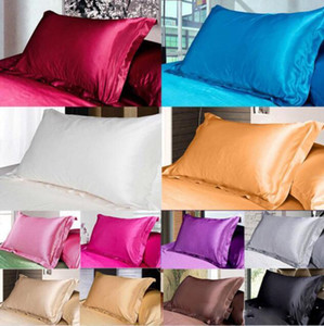 Wholesale silk pillowcases resale online - Solid Color Silk PillowCases Silk Satin Pillow Cover Double Face Envelope Design Pillow Case High Quality Charmeuse Bedding Supplies XD22497