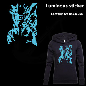 Wholesale Uzumaki Naruto Luminous sticker cm Patch for clothing Diy T shirt Dresses hoodie thermal transfer sticker