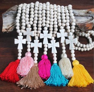 Wholesale sweater chain china for sale - Group buy Long style pine stone necklace female white wood handmade beaded tassel necklace cross sweater chain China