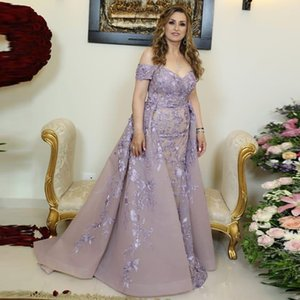 Elegant Evening Dresses with Detachable Train Off Shoulder Lace Appliques Plus Size Prom Dress Custom robe de soiree on Sale