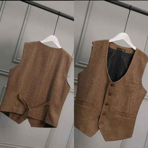 Wholesale Brown Wool Tweed Groom Vests British Style Vintage Formal Groom s Wear Suit Vest Men s Wedding Tuxedo Waistcoat Plus Size