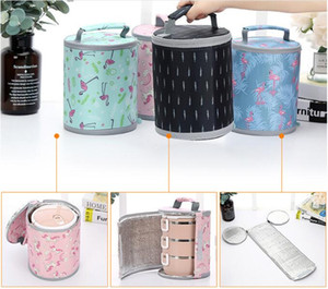 Wholesale portable thermal lunch bags round cartoons aluminum foil insulated cooler tote bag carry case zipper lunch box bags with handle