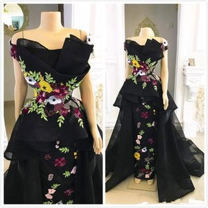 Aso Ebi Arabic Sheath Black Evening Dresses Lace Applique Prom Dresses Luxurious Tulle Formal Party Pageant Gowns on Sale