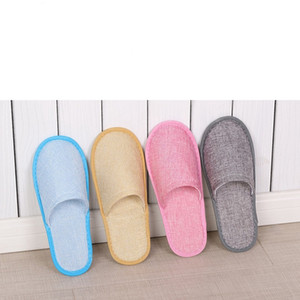8styles Disposable Slippers Hotel SPA Home Guest Shoes Anti-slip Cotton Linen Slippers Comfortable Breathable Soft One-time Slipper GGA2650 on Sale