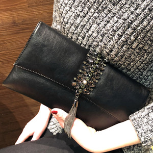 Wholesale Fashion Tassel Clutch Bag In Bucket PU Leather Diamond Cover Clutches Bags Envelope Purse Lady Party Shoulder Bag Messenger Pack