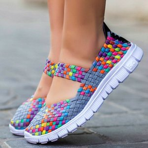 2019 Fashion Women's Slip On Running Shoes Ladies Breathable Mesh Summer Flat Soft Sneaker Designer Colorful Sandals