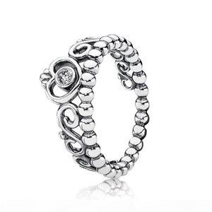 Wholesale pandora princess ring resale online - 100 Sterling Silver Princess Tiara Ring with Clear Cz Fit Pandora Charm Bead Jewelry Style