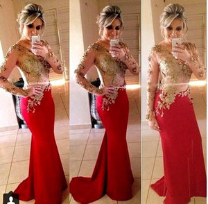 Wholesale Newest 2020 Gold Lace With Red Formal Evening Dresses Sheer Long Sleeve Mermaid Lace Appliqued Beads Satin Long Party Pageant Prom Gowns