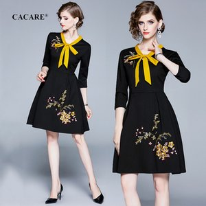 Wholesale CACARE Elegant Women Autumn Dress Vintage Audrey Hepburn Black Dress Christmas with Embroidered Flowers F2919 Long Sleeve