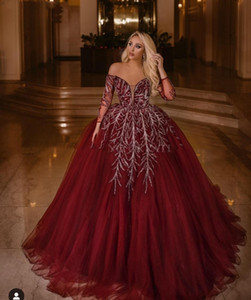 Elegant Off Shoulder Ball Gown Burgundy Arabic Dubai Evening Dress Long Sleeves Elegant Women Plus Size Prom Formal Dresses 2019 Abendkleid on Sale