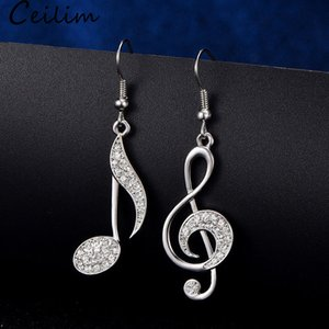 Asymmetric Trendy Music Notes Earrings Personality Hook Crystal Silver Rhinestone Dangle Earring For Women Accessory Lady Jewelry Gifts