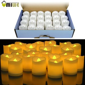Wholesale 24pcs Yellow Led Flameless Candle Lamp Votive Bars Holiday Wedding Battery powered Electronic Pillar Candle For Home Decoration T8190620