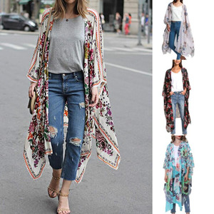Floral Bikini Cover-Ups 4 Colors Women Bohemia Kimono Chiffon Long Cardigan Loose Beach Bikini Wear OOA6985 on Sale