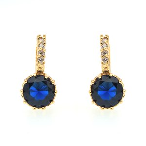 Wholesale Royal Blue Crystal Jewelry Gold Hoop Earrings Circle Earing Women Gifts Party Accessorios Mujer Ohrringe Bijoux Femme Kupe E0815
