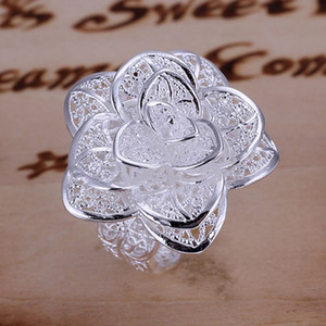 925 jewelry silver plated jewelry ring fine nice flower ring top quality wholesale and retail SMTR116 on Sale