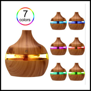 STOCK Electric Humidifier Aroma Essential Oil Diffuser Ultrasonic Wood Grain Air Humidifier USB Mini Mist Maker LED Light For Home Office