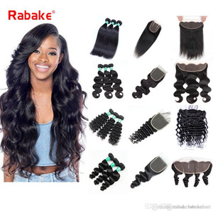 Wholesale Human Hair Bundles with Closure Lace Frontal Bundles Rabake A Brazilian Straight Virgin Hair Extensions Body Wave Lace Closure
