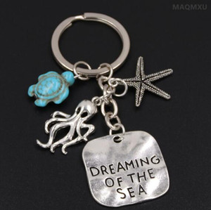 Conch Octopus Starfish Turquoise Sea Turtle Keychain Summer Beach Small Animals Key Ring Vintage Silver Key Chain Jewelry Gifts Souvenirs