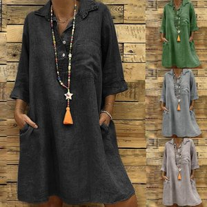 Wholesale Large Plus Size Best Sale Women s Solid Boho Turn down Collar Dress Sleeve Casual Pocket Button Dress Vestido T200319