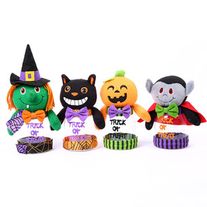 Wholesale 4 Styles Cartoon Halloween Candy Jar Toys cm Pumpkin Black Cat Cute Plastic Candy Jar Party Scene Decoration L316