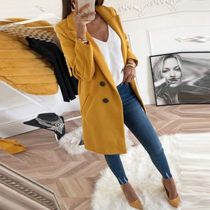Women Blend Coat Autumn And Winter Turn-Down Collar Long Wool Female Jacket Coat Plus Size Female Coat Casual Windbreake