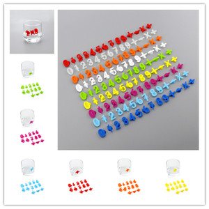 Wholesale label marker resale online - 14PCS SET Wine Glass Marker Creative Wine Cup Recognizer With Sucking Disc Party Dedicated Silicone Label Barware Tools Accessories